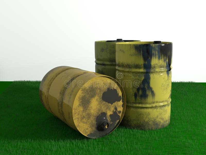 Yellow metal barrel oil on green grass, old dirty isolated on wh stock illustration