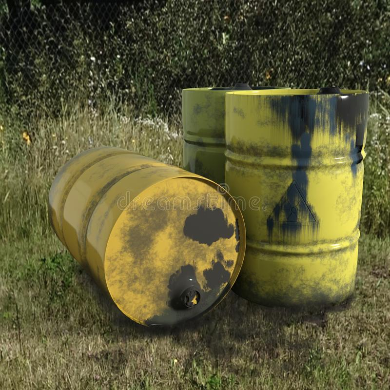 Yellow metal barrel oil on green grass, old dirty on wh stock illustration