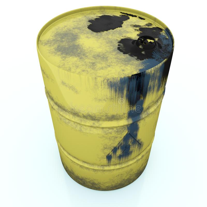 Yellow metal barrel oil old dirty isolated on white background, stock illustration