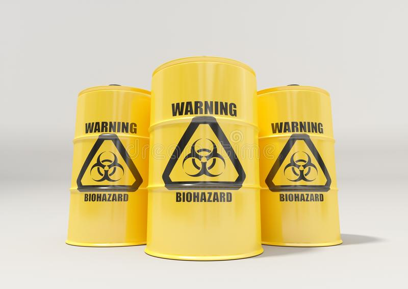Yellow metal barrels with black biohazard warning sign on white background vector illustration
