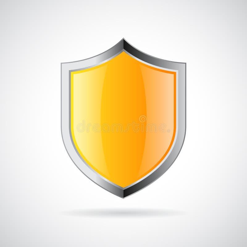 Yellow shield icon vector illustration