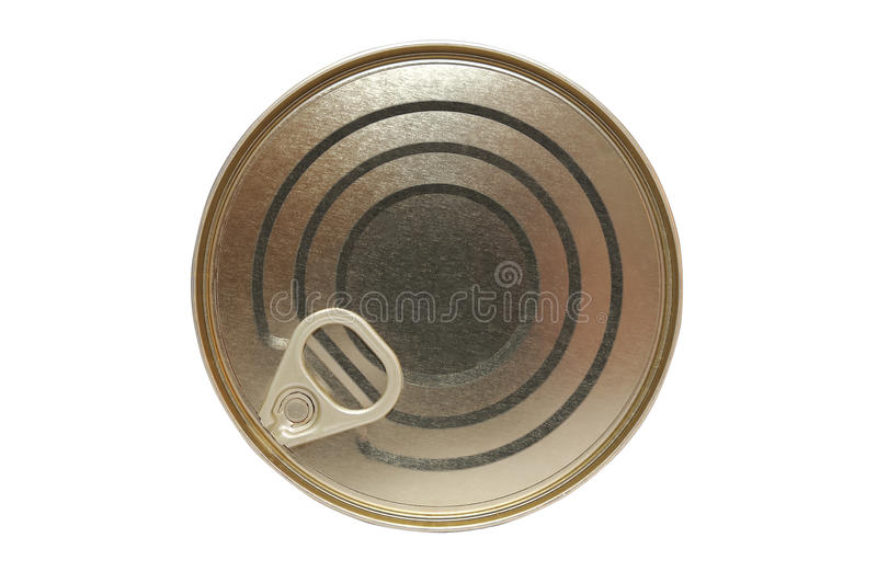 Yellow metal tin with handle isolated royalty free stock photo