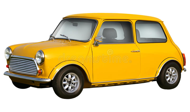 Yellow mini cooper. Isolated on white background royalty free stock image