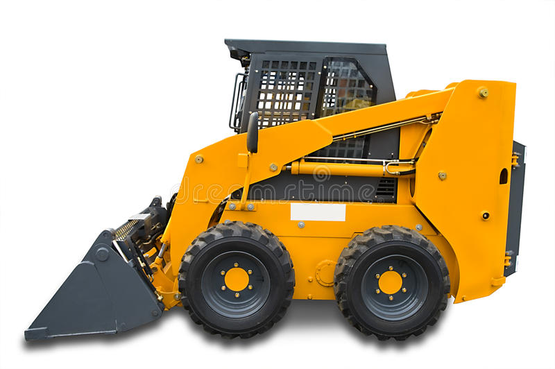 Yellow mini wheel excavator stock photo