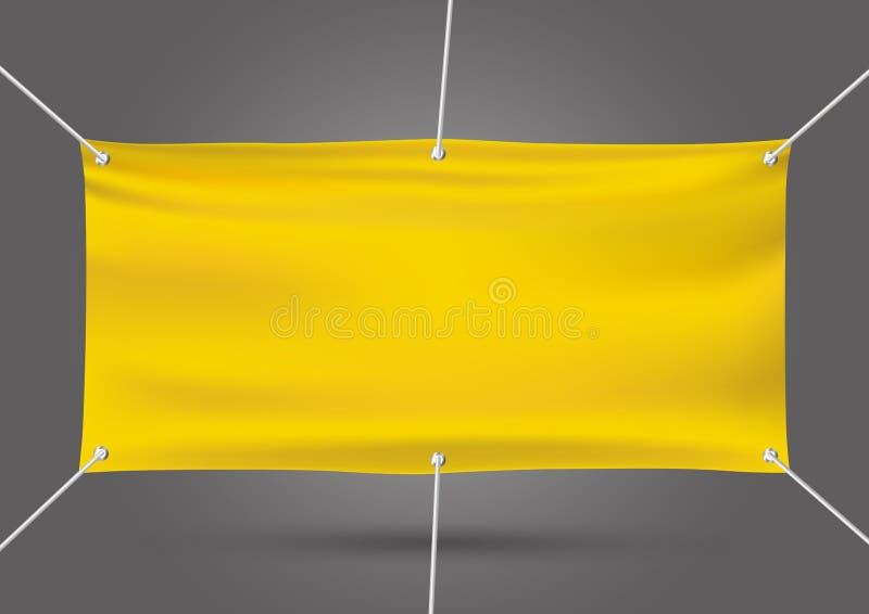 Yellow mock up vinyl banner on gray background vector illustration stock photo