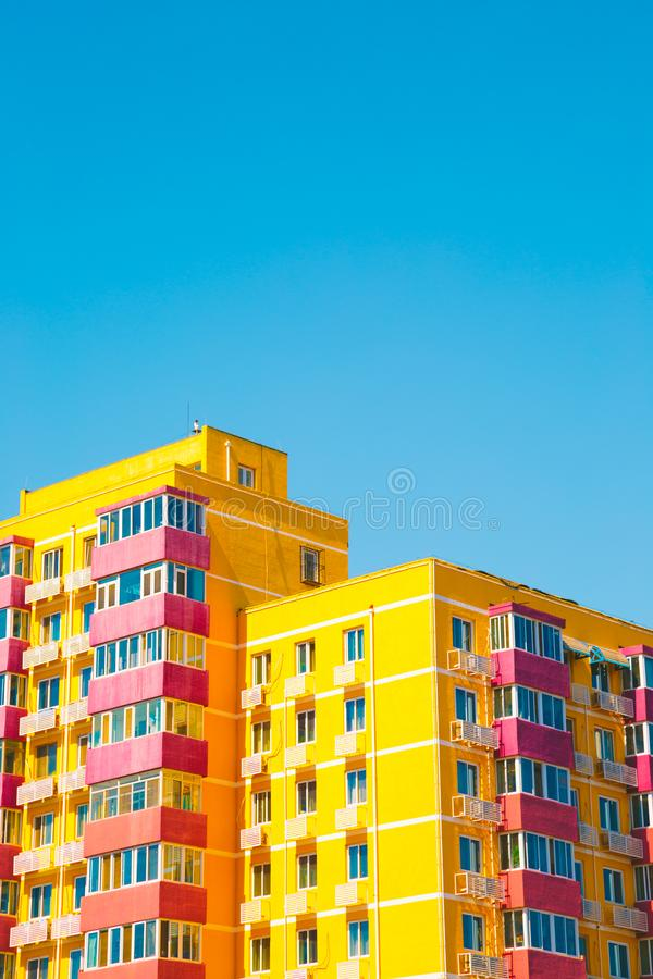 Yellow apartment building in Beijing, China. Yellow modern apartment building in Beijing, China royalty free stock photos