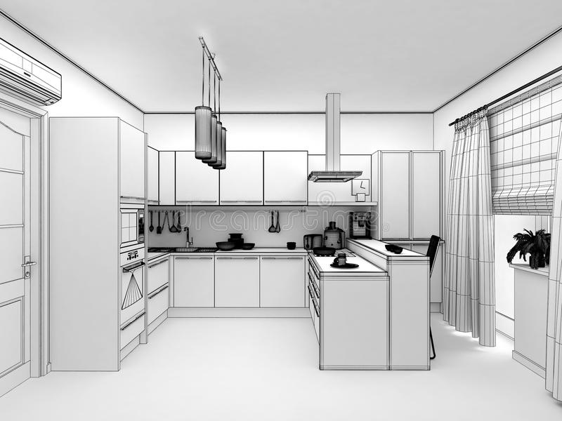 Yellow Modern Kitchen Interior 3d Concept Stock
