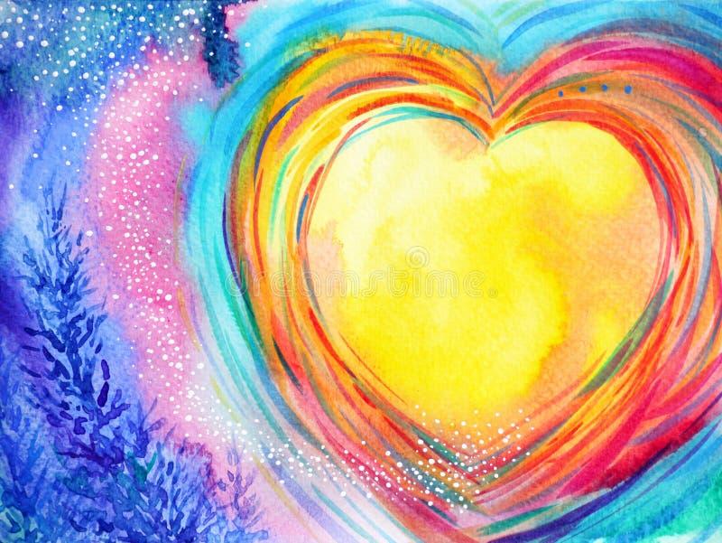 Yellow moon heart watercolor painting illustration design vector illustration