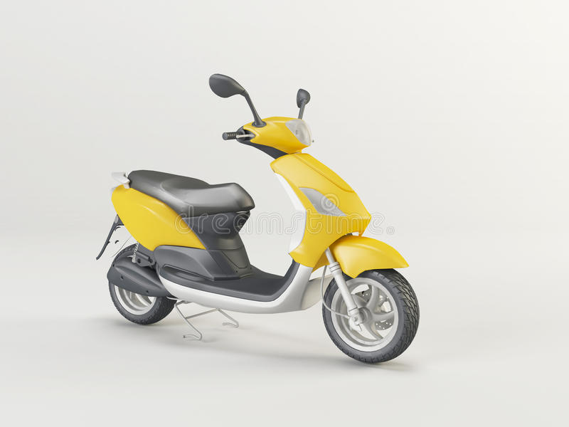 Yellow motorcycle 3d stock images