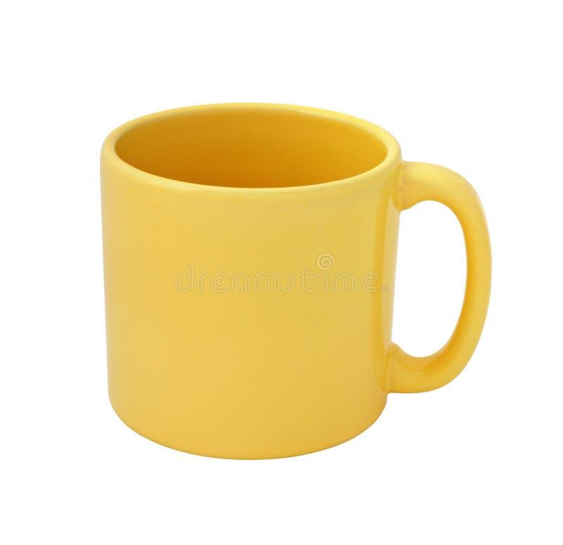 Yellow mug empty blank cutout stock photography