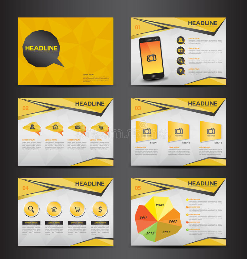 Yellow multipurpose presentation infographic element and light bulb symbol icon template flat design set for advertising marketing vector illustration