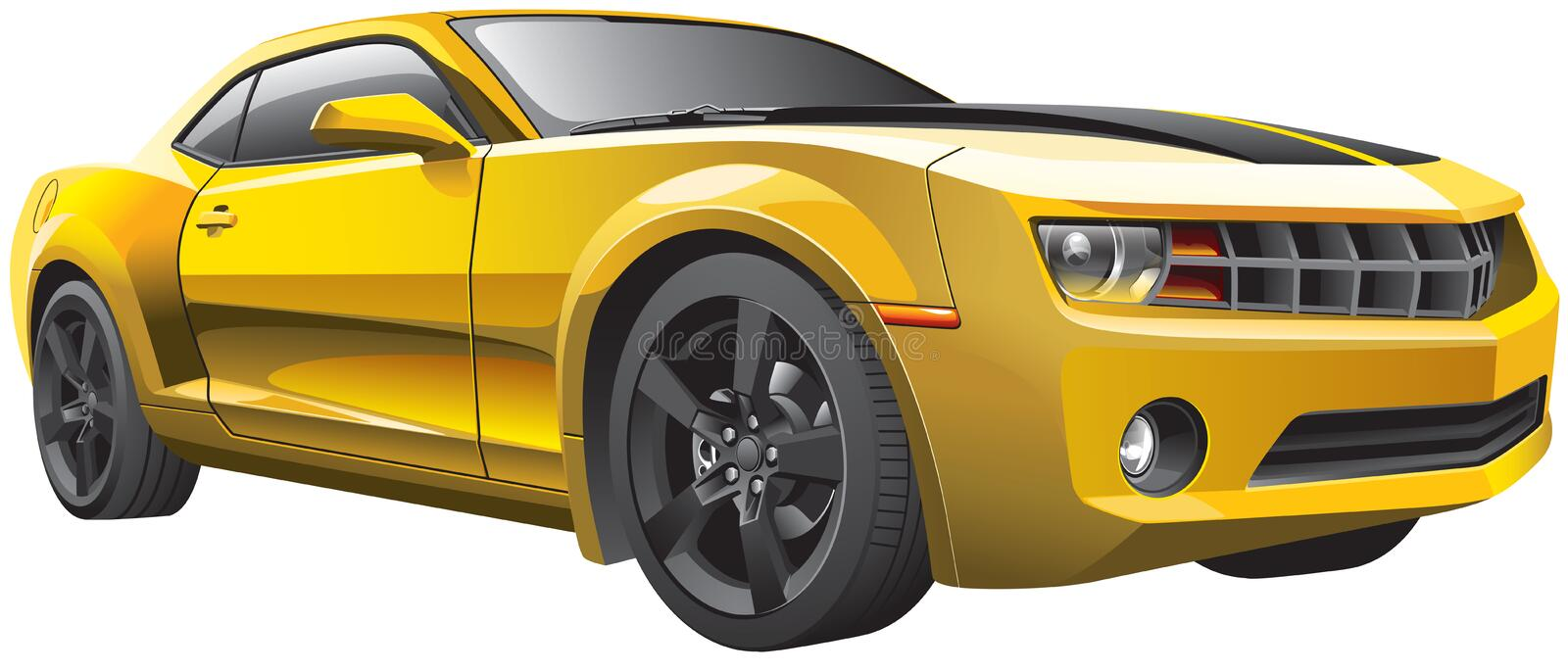 Yellow muscle car stock illustration