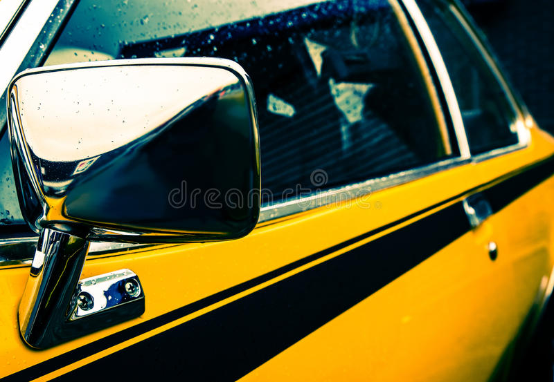 Yellow muscle car royalty free stock photo