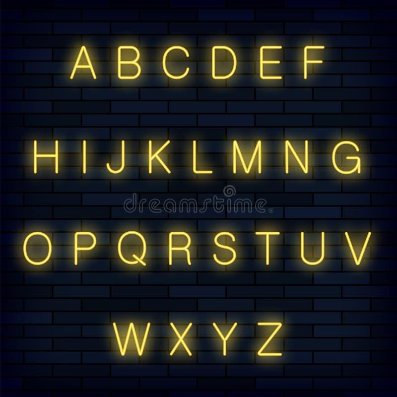 Yellow Neon Alphabet on Blue Brick Background. Retro Letters. Realictic Type Set. Graphic Font Design. vector illustration