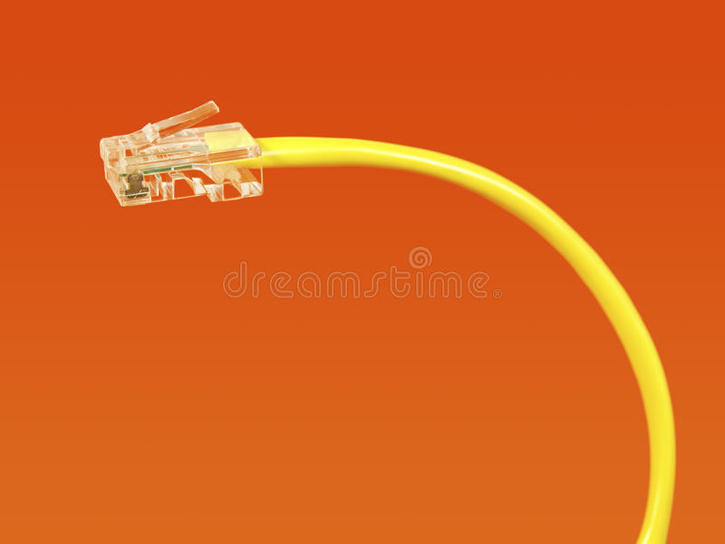 Yellow network cable stock photo