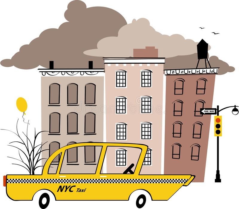 Yellow New York cab. Yellow taxi cab in the typical New York street, EPS 8 vintage inspired vector illustration stock illustration