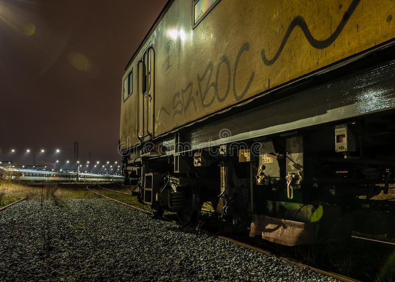 Night train. Yellow night train danish railway royalty free stock images