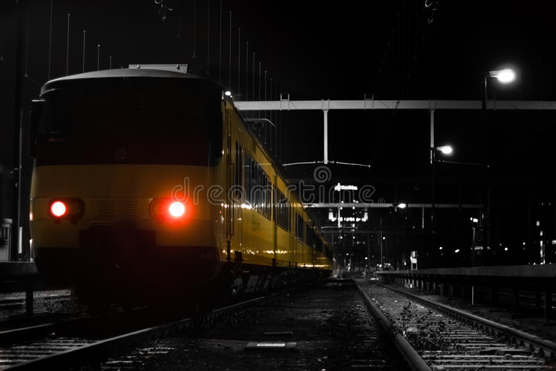 Yellow nighttrain.. royalty free stock images