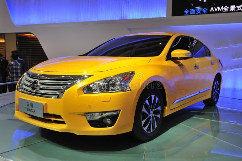 Yellow Nissan Teana stock photos