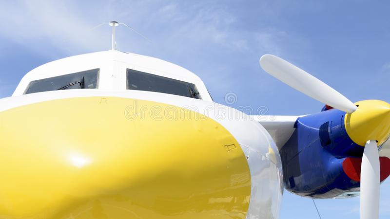 Yellow nose of an Aircraft cl;ose up royalty free stock photos