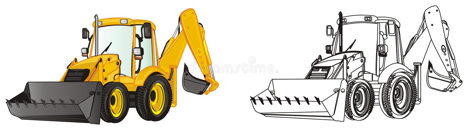 Pair of excavators. Yellow and not colored excavators royalty free illustration