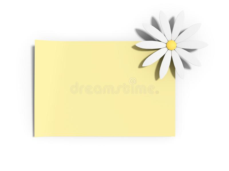 Yellow note with a daisy vector illustration