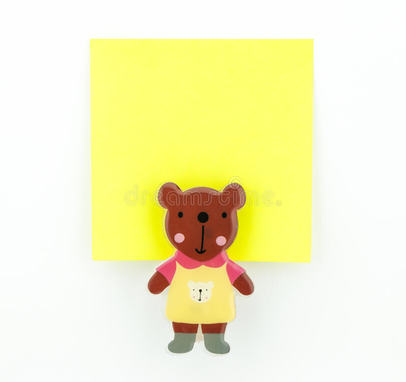 Download Yellow Note Pad With Bear Clip Stock Photo - Image: 31706172