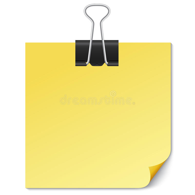 Yellow Note paper with Binder clip on white. Yellow Note paper with Binder clip on white background. Illustration. Template for your text stock illustration