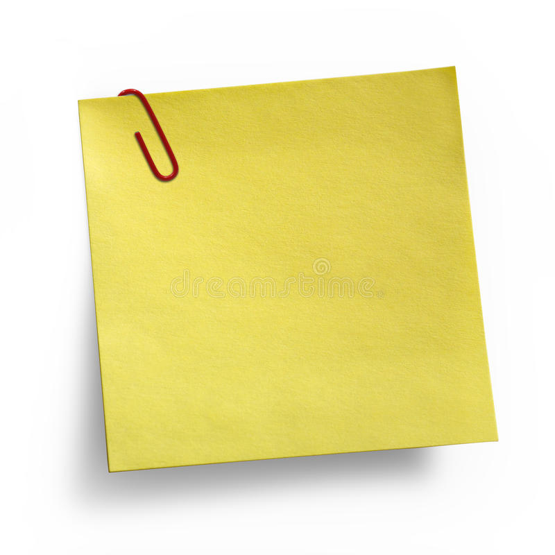 Download Yellow Note With Paper Clip Stock Photo - Image: 16498106