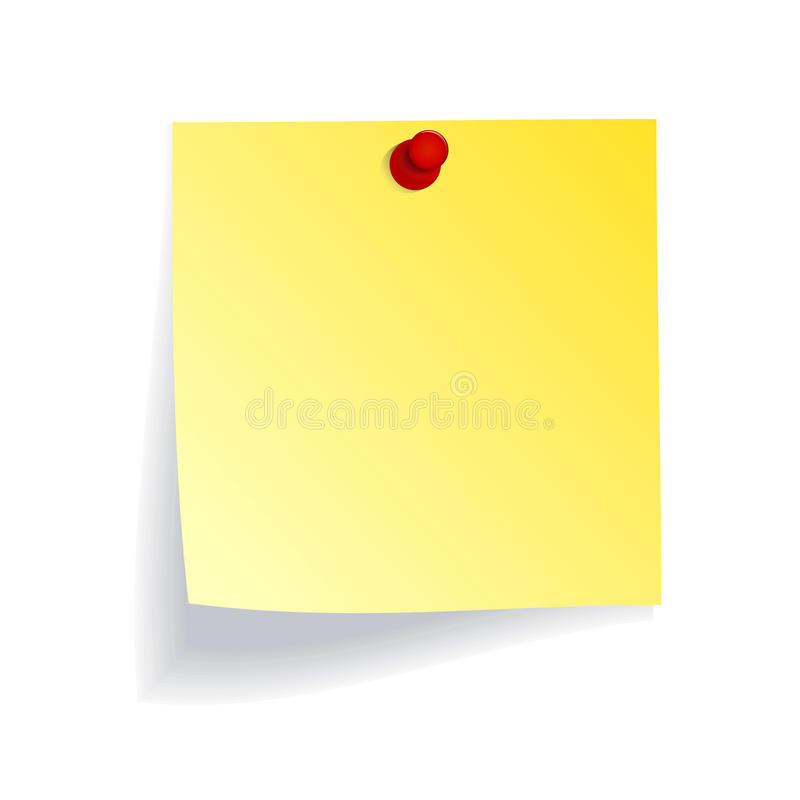 Yellow note with red push pin vector illustration