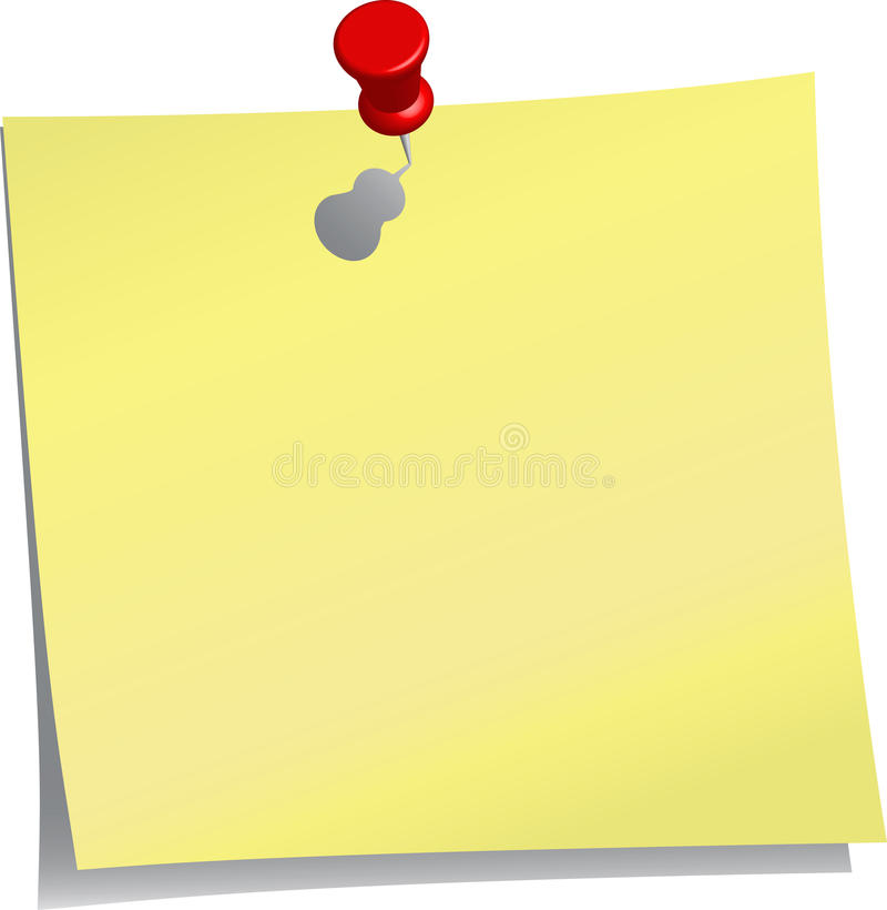 Yellow note and red push pin stock illustration