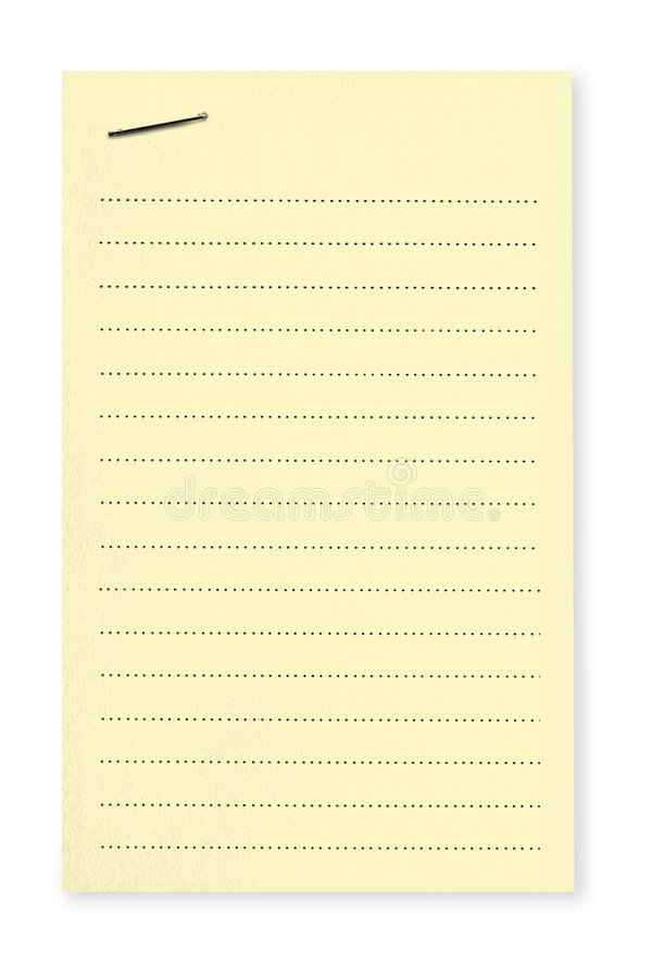 Yellow Note with Staple royalty free stock image