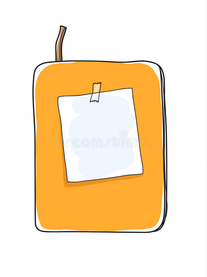 yellow notebook and note paper hand drawn art vector cute illustration royalty free illustration