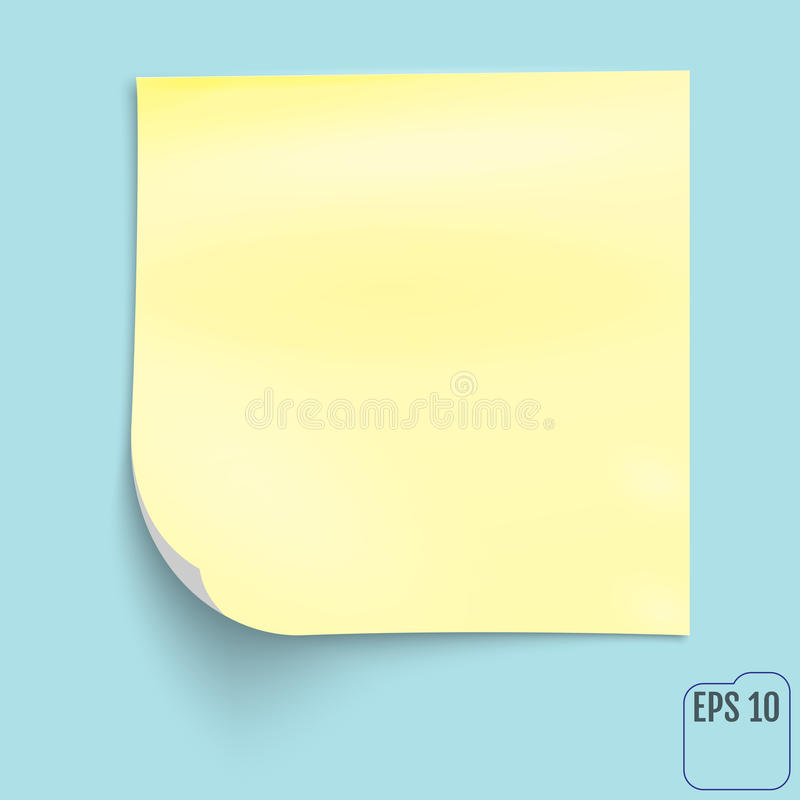 Yellow notepad. Yellow Sticky Note on blue background. royalty free illustration