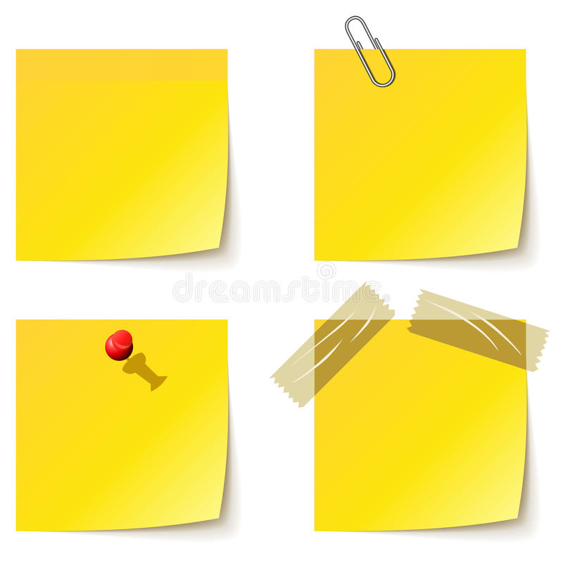 Yellow notice papers. On white vector illustration