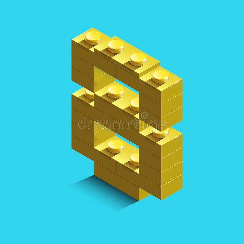 Yellow number eight from constructor lego bricks on blue background. 3d lego number eight. Number four vector illustration