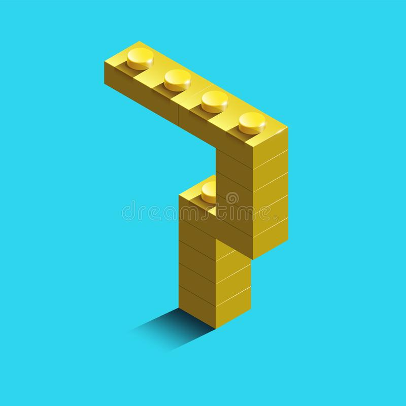 Yellow number seven from constructor lego bricks on blue background. 3d lego number seven. Number four royalty free illustration