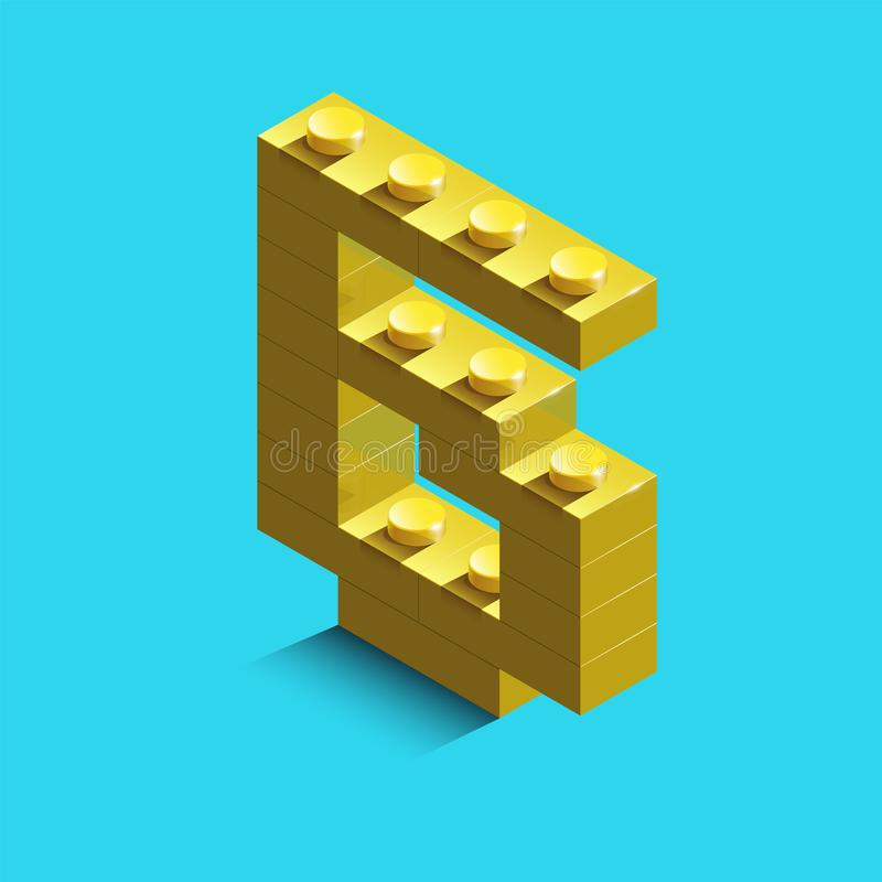 Yellow number six from constructor lego bricks on blue background. 3d lego number six. Number sx vector illustration