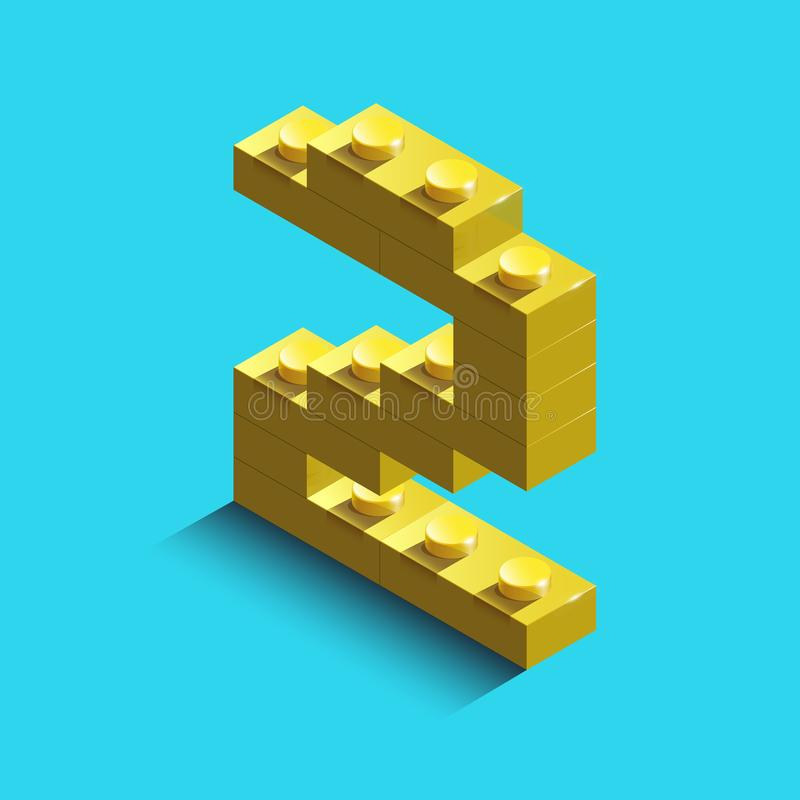 Yellow number two from constructor lego bricks on blue background. 3d lego number two vector illustration