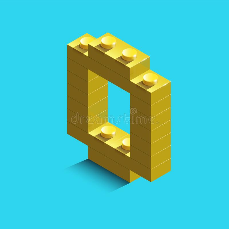 Free Yellow Number Zero From Constructor Lego Bricks On Blue Background. 3d Lego Number Zero Royalty Free Stock Images - 107028799