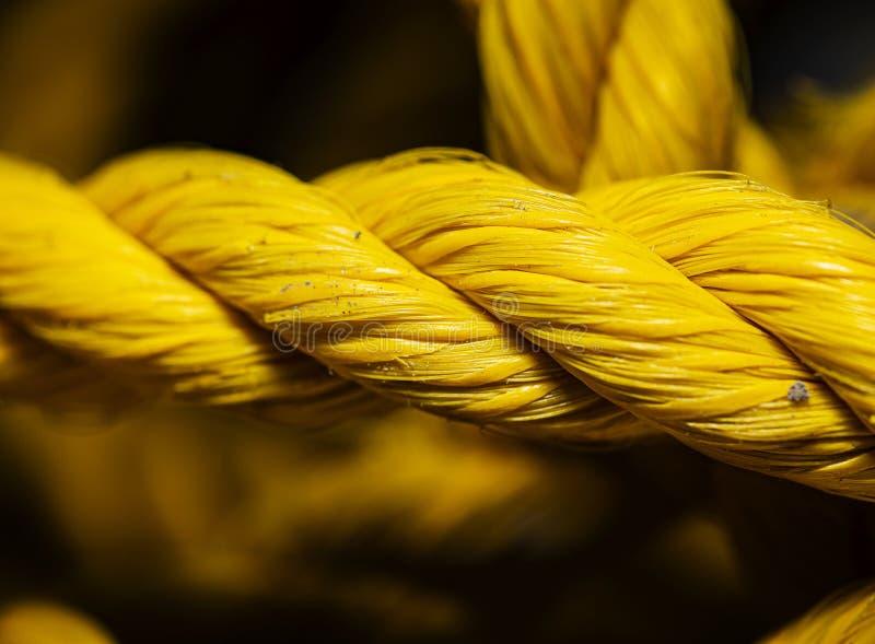 Yellow nylon rope royalty free stock photo