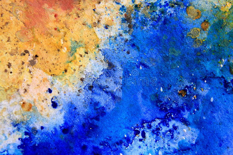 Yellow Ochre with Blue Watercolor Textures 6 vector illustration