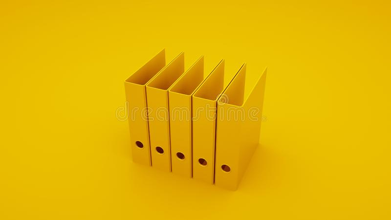 Yellow Office Ring Binders. 3D illustration royalty free stock images