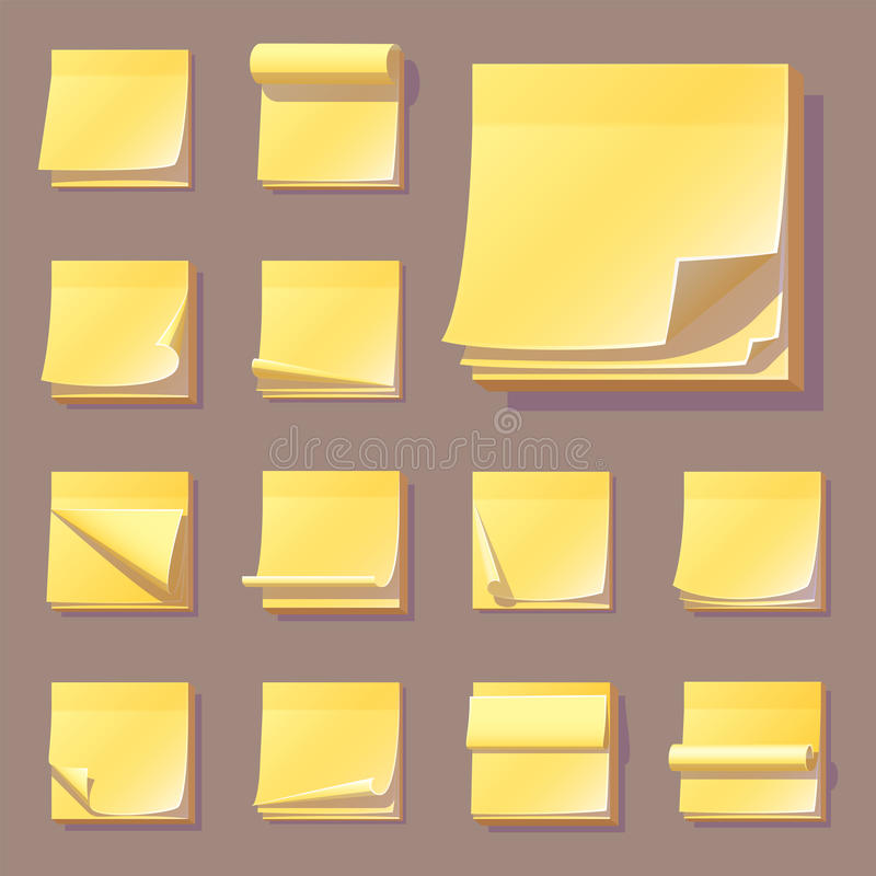 Yellow Office Sticky Memory Notes Vector Illustration Sticker