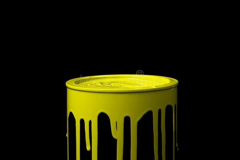 Yellow Oil Paint Flowing Down On Wall Of Metal Bucket. Isolated ...