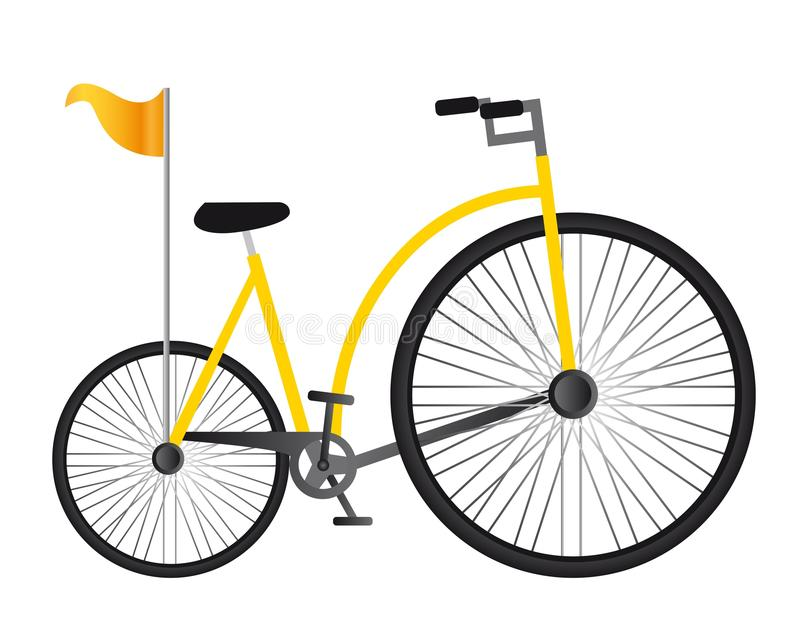 Yellow old bicycle royalty free illustration