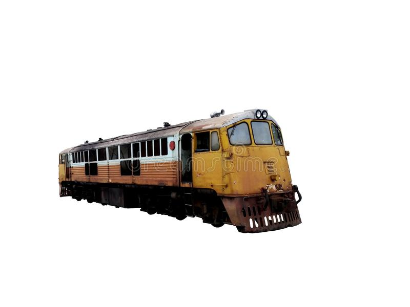 Yellow Old diesel locomotive on white background,retro train in thailand and asia. Yellow Old diesel locomotiveon white background,retro train in thailand and stock photos