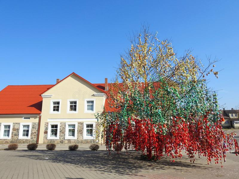Home and Easter eggs tree, Lithuania royalty free stock photo