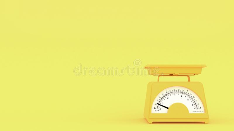 Yellow old kitchen weight scales on yellow background with free space for text or logo. Copy space. 3D rendering. royalty free illustration