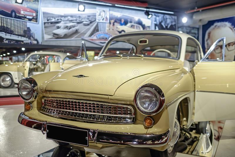 Yellow shiny old vintage car in perfect condition. Yellow old vintage car in perfect condition stock photography